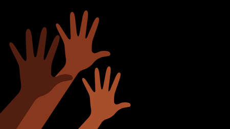 Black lives matter. Hands with different skin colors . Vector illustration with copy space. Vettoriali