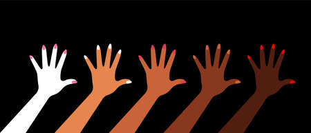 Black lives matter. Hands with different skin colors. Female hands. Black background. Vector illustration.