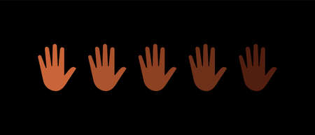 Black lives matter. Hands with different skin colors . Vector illustration 일러스트