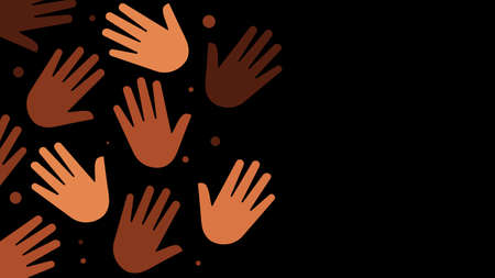 Hands with different skin colors .  Black illustration. Vector illustration with copy space.
