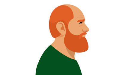 Adult Redhead Man with Beard. Portrait side view. Modern illustration on white background.