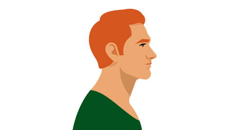 Redhead Man. A young, attractive man. Portrait side view. Modern illustration of a father, brother, uncle. Red-haired Irishman, Englishman, or Scot. White background.