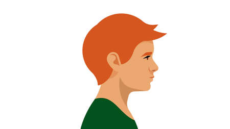 Red-haired boy. Portrait side view. Modern illustration of child, son, nephew, brother, pupil. Red-haired Irishman, Englishman, or Scot. White background.