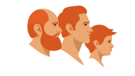 Portrait of grandpa, father and son. Different generations on the male line. Red-haired men of different ages. Side view. Vector illustration in modern style.White background. Illustration