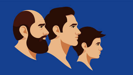 Portrait of grandpa, father and son. Different generations on the male line. Brunette men of different ages. Side view. Vector illustration in modern style. Blue background.