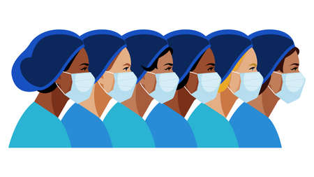 Nurses and doctors. Multi-ethnic women. A group of nurses with different skin color. Medical staff are fighting a viral infection. Vector illustration of a nurse in blue uniform.