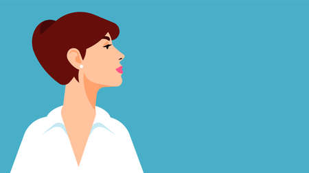 Beautiful woman face. Close-up young attractive girl model in white shirt. Stylish graphics portrait of self confidence independent woman. Side view. Vector illustration with copy space.
