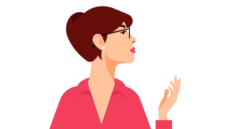 Confident business woman. Attractive young woman in eyeglasses looking away. Vector illustration of person. Isolated on white background.