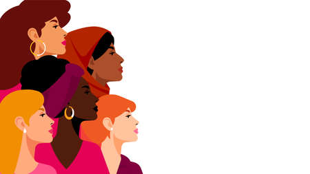 Multi-ethnic women. A group of beautiful women with different beauty, hair and skin color. The concept of women, femininity, diversity, independence and equality. Vector illustration. 일러스트