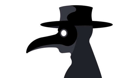 The Plague Doctor. A theater character in a mask with a long nose. Man in a costume on a white background. Concert of epidemics, diseases and treatment.  イラスト・ベクター素材