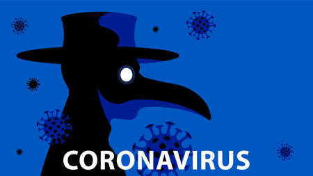 The plague doctor. A theater character in a mask with coronavirus. Concert of epidemics, diseases and treatment.