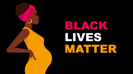 Black Lives Matter. Pregnant woman  in yellow dress. Black woman is fighting for social equality, justice and rights. Black background with copy space. Çizim