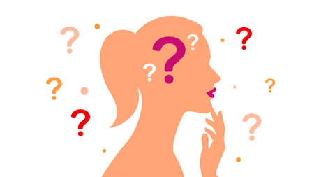 Girl and question mark - silhouette of young woman with question mark in her head. Question marks around brooding female figure. The concept of problem solving, thinking, choosing, and making decision
