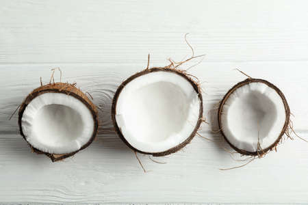 Tropical coconuts on white background, space for text