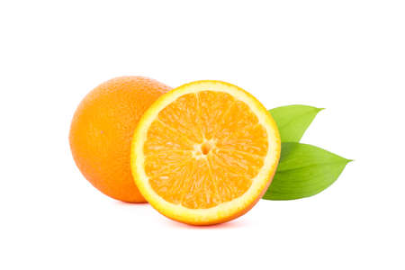 Ripe oranges with leaves isolated on white background. Citrus food