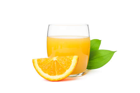 Glass of fresh orange juice with orange and leaves isolated on white background. Fresh natural drink