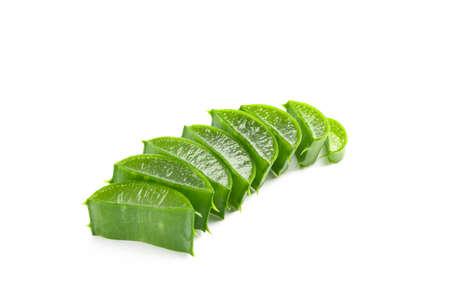 Aloe vera slices isolated on white background. Herbal medicine