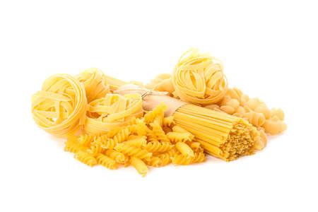 Pasta isolated on white background. Uncooked whole wheat pasta