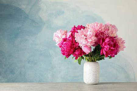 蓝色背景的灰色桌子上放着花瓶和美丽的牡丹花,文字空间