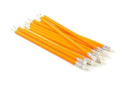 Many pencils isolated on white background. Stationery