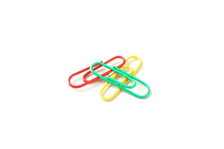 Color paper clips isolated on white background Reklamní fotografie