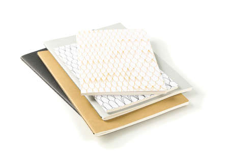 Notebooks isolated on white background, top view