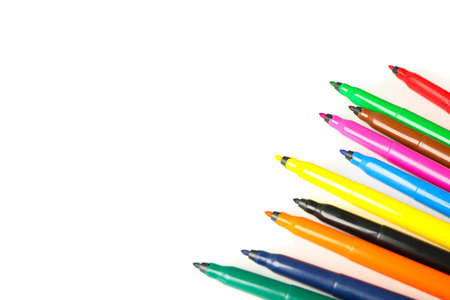 Color markers isolated on white background