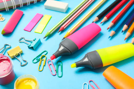 Composition with school supplies on color background, closeup 写真素材