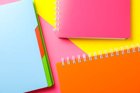 Composition with copybooks on two tone background, space for text Stockfoto
