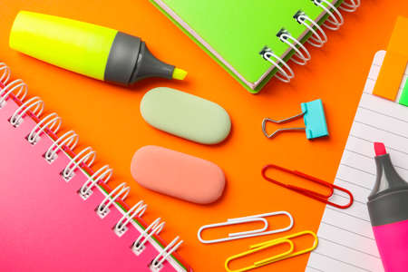 Composition with school supplies on color background, closeup Stockfoto