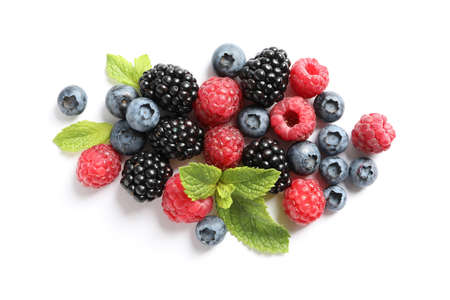 Flat lay composition with berries on white background, space for text Imagens