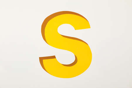 Color letter S on white background, space for text