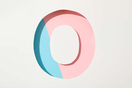 Two color letter O on white background, space for text Imagens