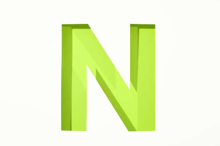 Color letter N on white background, space for text