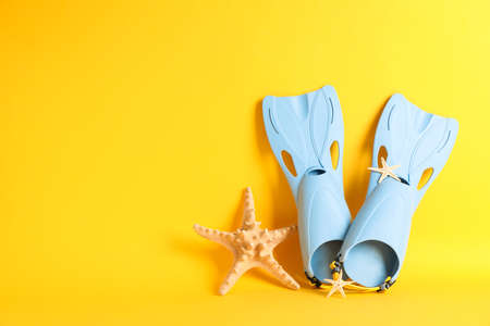 Blue flippers and starfishes on yellow background, space for text Stock Photo