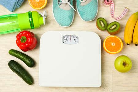 Healthy lifestyle accessories on white background, top view Zdjęcie Seryjne