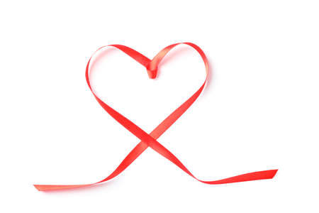 Red ribbon heart isolated on white background