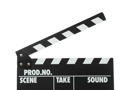 Clapper board isolated on white background, close up