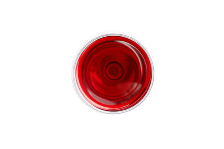 Glass with red wine isolated on white background, top view 스톡 콘텐츠