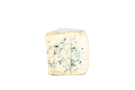 Piece of blue cheese isolated on white background