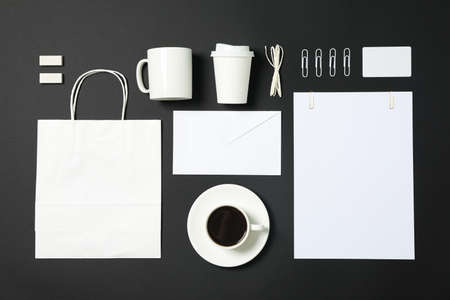 Flat lay composition with blank stationery on black background, copy space Stock fotó
