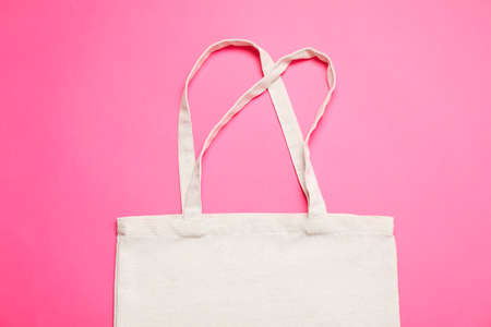Eco bag on color background, space for text Banque d'images