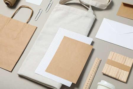Mockup. Corporate stationery on grey background, copy space