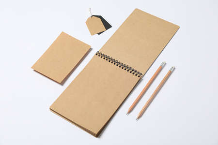 Composition with blank stationery on white background, space for text