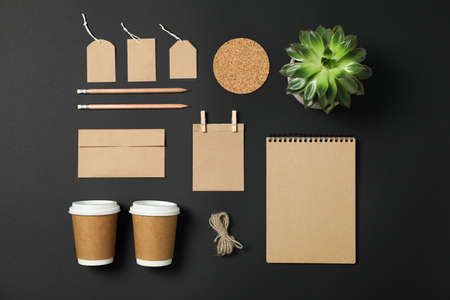 Flat lay composition with blank stationery and succulent on black background, copy space Stock fotó