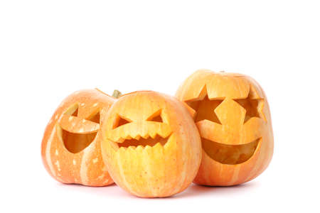 Halloween decorative pumpkins isolated on white background