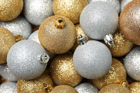 Christmas balls on whole background, close up