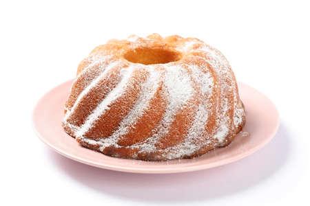 Cake with powdered sugar isolated on white background