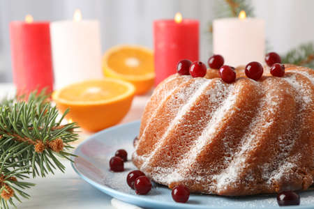 Cake with powder sugar and cranberry on white table. Christmas concept Reklamní fotografie