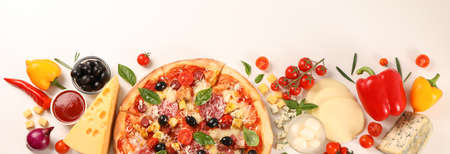 Flat lay. Pizza and ingredients: vegetables, cheese on white background, copy space